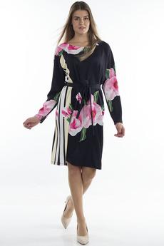 Черное платье с цветами Bast
