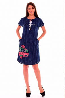 Синяя туника с цветами Новое кимоно