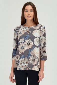 Коричневая блузка с цветами Viserdi