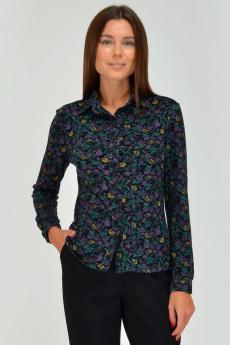Черная блузка в белый цветочек Viserdi