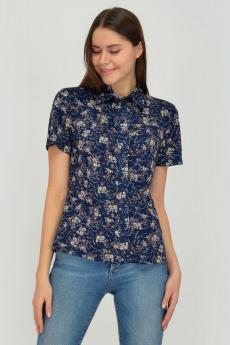 Темно-синяя блузка в цветочек Viserdi